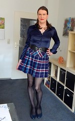 Plaid skirt (Rikky_Satin) Tags: satin silk blouse blue plaid skirt pantyhose pumps crossdresser transvestite transgender tranny sissy secretary office fashion apparel