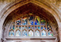 Above the Chapter House door (rustyruth1959) Tags: nikon nikond3200 tamron16300mm manchester manchestercathedral cathedral church religiousbuilding painting indoor chapterhouse architecture arch sermononthemount colours stonework artwork