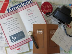 How it used to be. Traveling by plane when it was a luxury. (Traveling with Simone) Tags: plane avion traveling voyager tickets billets twa american airlines aviation menu camera watch