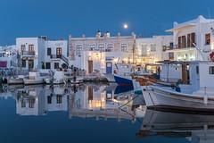Evening at Naousa, Paros (Maria-H) Tags: naousa egeo greece gr harbour boats reflections paros cyclades olympus omdem1markii panasonic 1235 evening