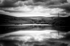 Ogden Reservoir (Missy Jussy) Tags: ogden reservoir water reflections england rochdale landscape lancashire northwest farm pylon sunlight hills fields countryside mono monochrome blackwhite bw blackandwhite canon canon5dmarkll canon50mm 50mm ef50mmf18ll