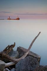 The Ridgetown (Thankful!) Tags: theridgetown freighter sunken derelict breakwater portcredit portcreditharbour harbor lakeontario evening calm