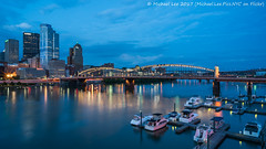 Marina and Bridge (20170528-DSC03158-Edit) (Michael.Lee.Pics.NYC) Tags: pittsburgh monongahelariver smithfieldstreetbridge pier marina boats stationsquare landing downtown architecture cityscape night twilight bluehour reflection traffictrails lighttrails southside sony a7rm2 zeissloxia21mmf28