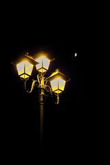3 & 1/2 (Ren-s) Tags: lampadaire lampost street rue lumière light nuit night brussels belgique belgium europe black noir ciel sky lune moon croissant yellow bruxelles 3 canon eos 600d efs1855mm f3556 is contraste contrast composition halo dark sombre
