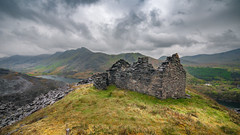 The green green grass of home XX (Einir Wyn Leigh) Tags: landscape scenery viewpoint derelict cottahe industry building ruin memories sky clouds valley wales cymru uk snowdonia snowdon mountains lake peris llyn light green slate walking ancestory grey bright
