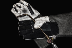 Heat resistant gloves for welding of plastic pipes, isolated on a white background. Used to install plumbing and heating pipes made of polypropylene (sergeitukach) Tags: welding work leather equipment welder protection isolated industrial construction hand white background labor worker glove comfortable nobody resistance wear fingers pair technology safety worn gloves palm repair protective tool dirty heat resistant industry craftsman security firm plastic plumber gauntlet protect yellow object sewing factory new mitten multipurpose old metal weld