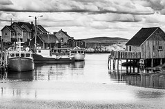 Peggy's Cove Harbour (Dad from Hell) Tags: canada canadarocks garypaakkonen photography architecture atlantic atlanticocean bw blackandwhite boats colours d300s downtown harbor harbour houses landscape maritimes monochrome nikon novascotia ns peggyscove touristtrap travel water