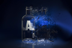 """A"" dispersion... (Antonio Iacobelli (Jacobson-2012)) Tags: effect dispersion vodka absolute metà half cutting laser led light bari nikon d800 nikkor 60mm photoshop"