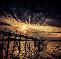 Survivor   [Explored] (RonnieLMills) Tags: wooden jetty pier kinnegar holywood low tide sunset slider sunday hss explore explored 22517 18