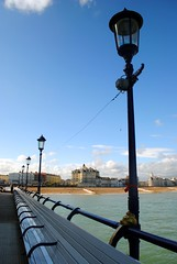 Light at the end of the pier (zawtowers) Tags: eastbourne east sussex south coast england seaside resort town victorian dry sunny warm blue sky skies sunshine saturday 20th may 2017 exploring tourism promenade seafront beach sea pier built 1865 opened 1870 pleasure attraction lamp posts lights