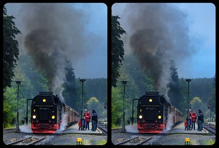 Steam train 3-D / CrossEye / Stereoscopy / HDR / Raw