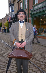 Period costume at Beamish Museum (Snapshooter46) Tags: edwardian periodcostume beamishmuseum man bowlerhat leatherbag umbrella bowtie flycollar posing countydurham