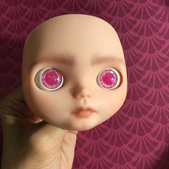 Trying out her eyechips, 3 sets painted 1 more to go! (_danie11e_) Tags: basaak ooak wip eyechips eye chips custom painted doll clone blythe