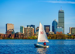 Sailboat on the Charles ((Jessica)) Tags: newengland lifejacket redlifejacket river charlesriver mit water boat massachusetts sailing skyline person outdoors boston sunny waterfront sailboat backbay