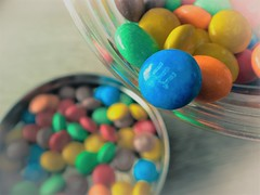 Chocolate mnm's (*mirt) Tags: wednesdaycloseupormacro 7dwf mnms colorful color smileonsaturday chocolate jar food dof