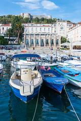 Hvar, Croatia (MikePScott) Tags: boat buildings builtenvironment camera clouds croatia featureslandmarks fort hills hvar island motorboat nikon28300mmf3556 nikond600 sky topography trees splitdalmatia