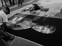 Silent poetry in the streets of Rome (*mirt) Tags: rome streetpainting blackwhite bw art painter painting lady medieval human person 7dwf thursdaybworsepia street