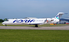 Adria CRJ-701ER S5-AAZ. 31/05/17. (Cameron Gaines) Tags: cn 10014 first flew montreal mirabel mid april 2001 cgisw before being delivered lufthansa cityline dacpc 23rd august named espelkamp the aircraft was withdrawn from use 14th september 2014 flown ljubljana for further storage 11th december regional one february 2015 leased adria airways march łódź registered s5aaz current may 2017 adriaairwayscrj701ers5aazliningupon23lonitsreturnflighttoljubljanaadriaoperatethisroute2xweekly onwednesdaysandsaturdays310517 crj700 bombardier lh slovenia