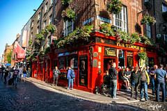 Dublin Pub (Vanessa Kade) Tags: dublin ireland uk united kingdom pub flowers red colorful street streets cobblestone cobblestones brick alley bar sony sonya850 vanessa kade vanessakade