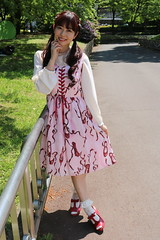 Things Aren't Quite As They Seem (emotiroi auranaut) Tags: woman lady attractive pretty nice lovely dress hair face shoes feelings pathway corner railing japanese japan asian asia gorgeous beautiful beauty