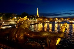 Eiffel Tower at night, from Pont Alexandre III