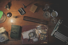 Evidences (iwidesiderio) Tags: flatlay top old vintage manila manilawho evidence inspect don quijote abacus type typewriter book telephone letter letters paper investigate magnifying glass escolta secetsofescolta