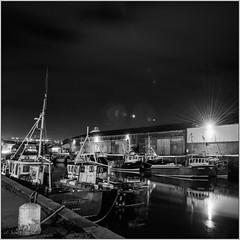 Wicklow Harbour at Night (johnhig89) Tags: blackblurphotography boats blackandwhite wicklow harbour ireland nikon d800 nikond800 nikon2470 nighttime water