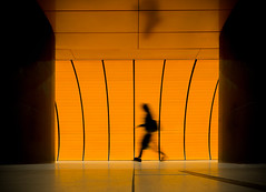 (Magdalena Roeseler) Tags: street streetphotography colour color candid silhouette people black orange art moving walk travel trainstation olympus zuiko12mm