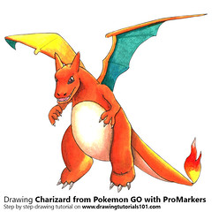 Charizard from Pokemon GO with ProMarkers [Speed Drawing] (drawingtutorials101.com) Tags: charizard pokemon go pokémon video games augmented niantic dennis hwang junichi masuda promarkers promarker alcohol markers marker color colors coloring draw drawing drawings how time timelapse