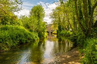 The River Clun & A Glimpse Clun Bridge