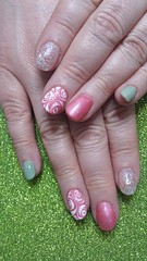 Pastel colours with white wet on wet rose nail art