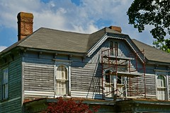 THE NEW ROOF (NC Cigany) Tags: home house repairs roof scotlandneck nc scaffold chimney clouds dilapidated restoration