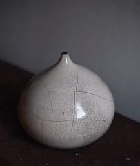 Raku vase made last year and donated to @kundimanforever 2016 benefit gala.  #ceramic #raku #vase #handmade (kayk.) Tags: instagramapp square squareformat iphoneography uploaded:by=instagram rakufired handmade ceramic vessel vase raku crackle