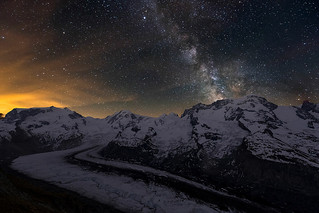 Monte Rosa and Gorner Glacier at Night