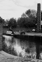 Black Country Museum (alasdair.matthews) Tags: nikon fe2 nikonfe2 film filmisnotdead 50mm f14 ilford hp5 bw blackandwhite monochrome r09 rodinal 125 bcm blackcountrymuseum museum heritage reenacactor canal boat