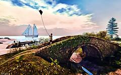 A boy's day.......... (Sparkie Cyberstar) Tags: secondlfe sl virtual world befunky effect boy boat kite beach windlight ship water