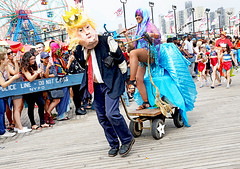 Even the Mermaids Don't Like Him! (kirstiecat) Tags: politics mermaid nyc newyorkcity mermaidparade float people happy fun usa america canon street liberal feminism women resist resistfascism hilarious amusing funny hysterical satire impeachtrump dumptrump wonderwheel coneyisland brooklyn