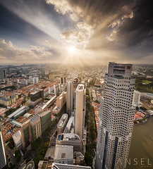 Breakthru (draken413o) Tags: singapore architecture cityscapes skyline skyscrapers urban places scenes asia travel destinations 1altitude sunset sunrays samyang 14mm vertorama wow god rays epic light uob heights super amazing canon