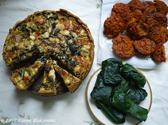Food for sharing at the TTR AGM (karenblakeman) Tags: cavershamgarden caversham uk food vegetables quiche chickpeaflourmuffins stuffedbrassicaleaves dolma may 2017 reading