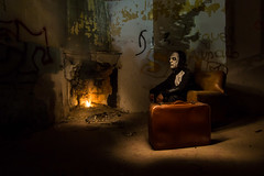 The Long Wait (B.B.H.70) Tags: nocturna nightphotography fireplace sofa seat suitcase maleta fuego fire lightpainting graffiti miguelesunculo máscara mask