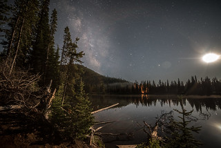 The moon and the Milky Way above devils lake