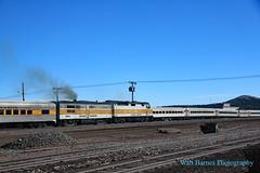At Williams, Arizona. (Walt Barnes) Tags: scenery scene track trackside rail railroad train locomotive dieselelectric engine canon eos 60d eos60d canoneos60d wdbones99 topazsoftware pse15 williams arizona grandcanyonrailway emd f40ph historic tourist smoke