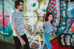 you paint my world in colours (natalyakurgina) Tags: canon canon600d couple color redhead redhair red love lovestory warmcolors graffiti paint street