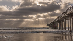 Side view of Scripps Pier (Lgampel) Tags: specland horizon sandiego scrippspier sunset crushingwaves nature water structure surf outdoor panorama photo ellenbrowningscrippsmemorialpier underpier california sun light beach scenery waves travel view seascape clouds sky lajolla usa tides landscape pacificocean