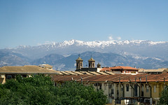 Town between Granada and Seville (ep_jhu) Tags: snowcovered spain window 7d towers bus town landscape canon snowcap españa mountain