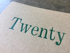 Twenty (artnoose) Tags: etsy type wood twenty mohawk cardstock paper brown kraft green postcards postcard letterpress custom