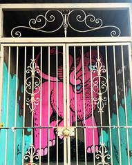 Caged Mastodon (wiredforlego) Tags: graffiti mural streetart urbanart aerosolart logansquare chicago illinois ord pink elephant
