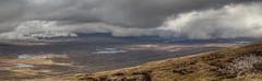 Rannoch Moor from 705 metres above sea level (2313 ft); looking north-east (Michael Leek Photography) Tags: rannochmoor scotland scottishlandscapes scotlandslandscapes glencoe panorama panoramic scottishhighlands grampianmountains weather thisisscotland awesomescotland michaelleek michaelleekphotography hdr highdynamicrange clouds sunlight scotlandsbeauty rain