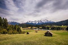 Karwendel View (hjuengst) Tags: landschaftennatur see wetter wolken karwendel mountain lake geroldsee hut clouds forest tyrol klais gerold wagenbrüchsee