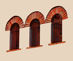 Three windows (chrisk8800) Tags: barcelona chrisk8800 windows facade threewindows three bricks lines curves geometry texture structure forms composition